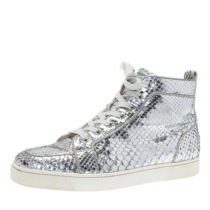 buy online 0e2da ee7e8 Christian Louboutin Metallic Silver Python Rantus Orlato High Top Sneakers  Size 43