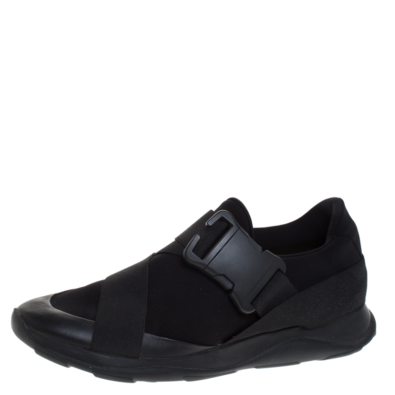 Christopher Kane Black Nylon Safety Buckle High Top Slip On Sneakers Size 43