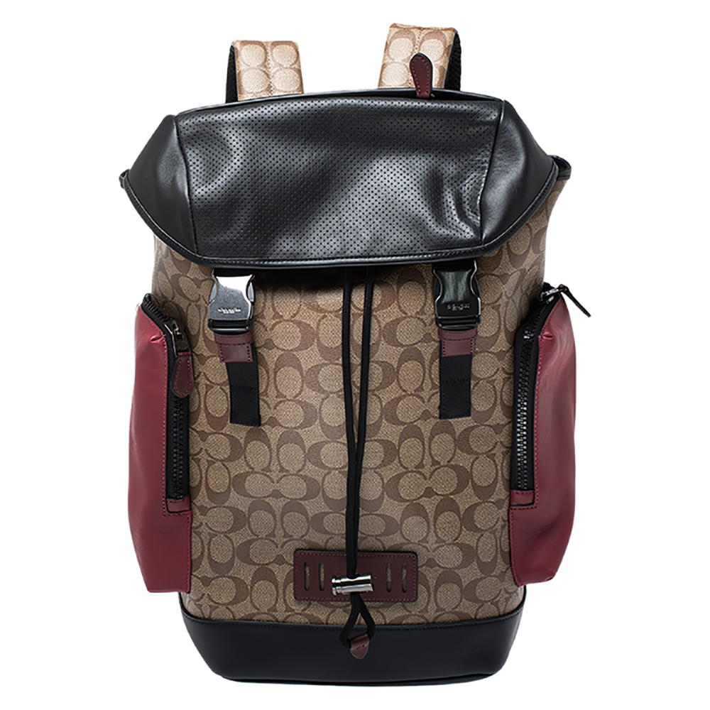 Coach Beige Signature Canvas and Leather Rivington With Coach Patch Backpack