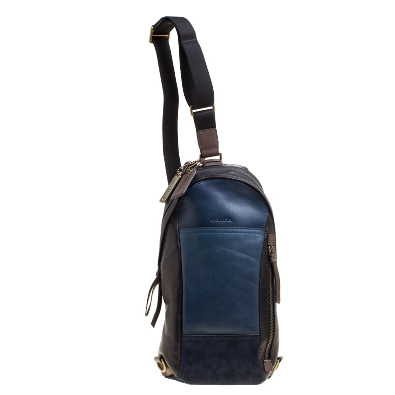 bc386deff1f3 Buy Coach Black Blue Leather and Suede Thompson Sling Backpack ...