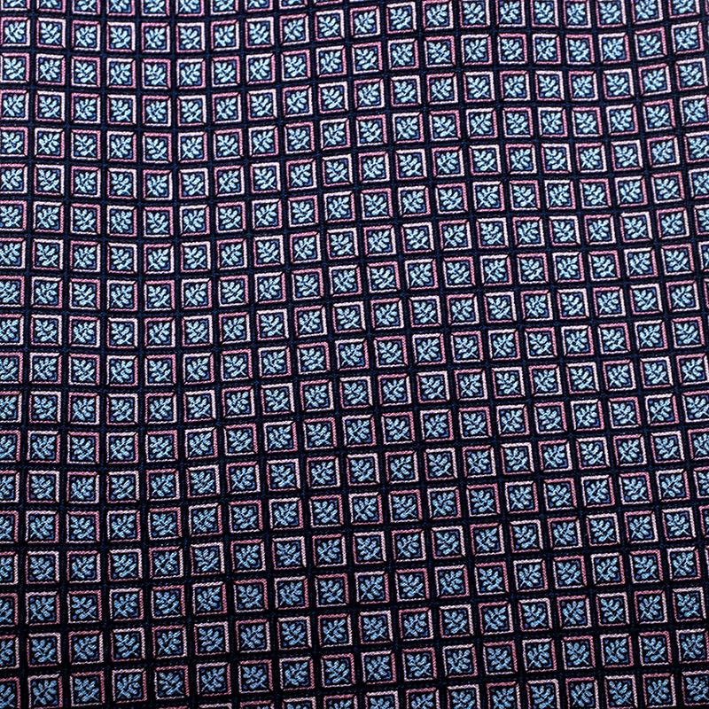 Dior Vintage Navy Blue and Pink Leaf Printed Silk Traditional Tie