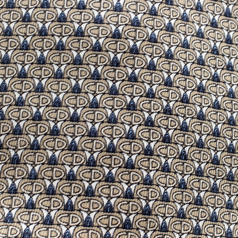 Dior Beige and Blue CD Printed Silk Traditional Tie