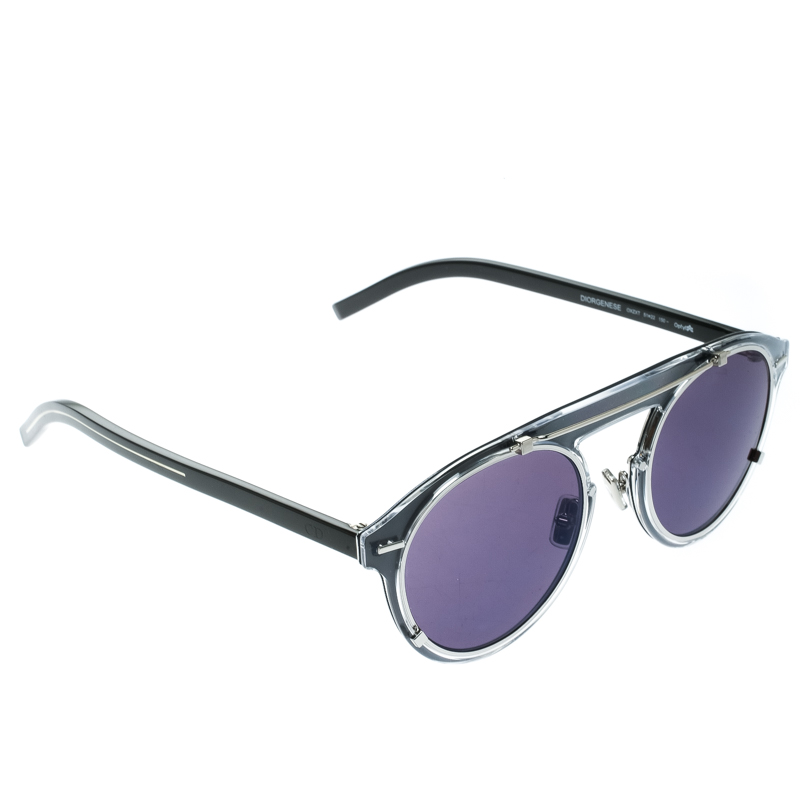 a2d7368719 Buy Dior Homme Silver Black Diorgenese Round Sunglasses 176860 at ...