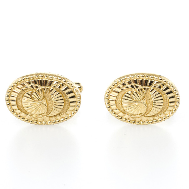 Christian Dior Logo Gold Plated Round Cufflinks