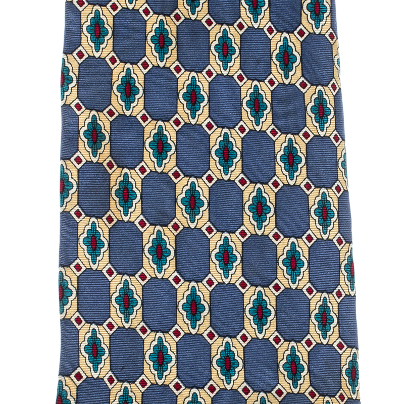 Dior Vintage Multicolor Monogram Printed Silk Traditional Tie