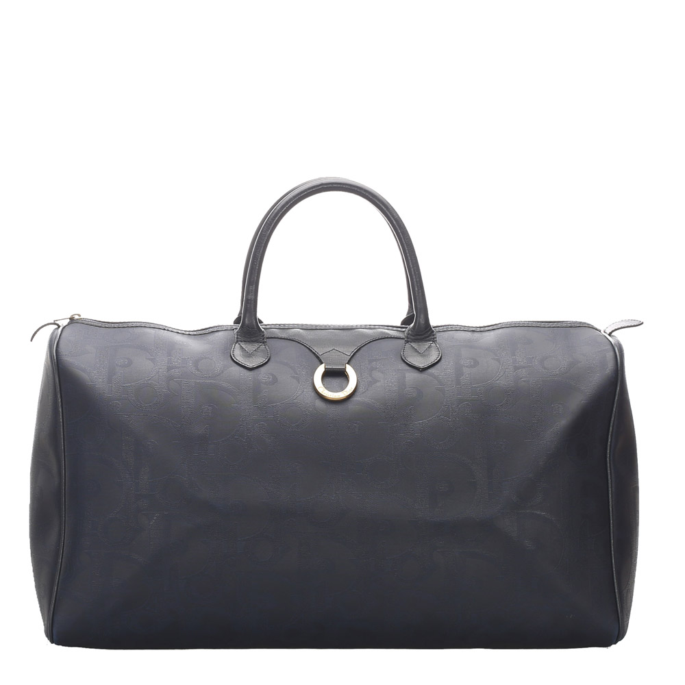 Dior Black Vinatge PVC Leather Oblique Duffle Bag