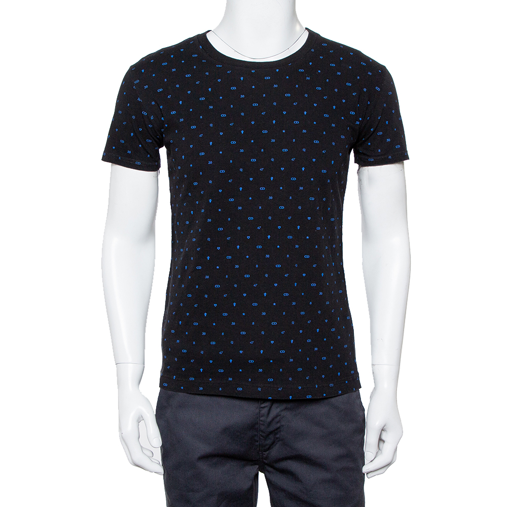 Dior Homme Midnight Blue Logo Printed Cotton Crewneck T-Shirt XS