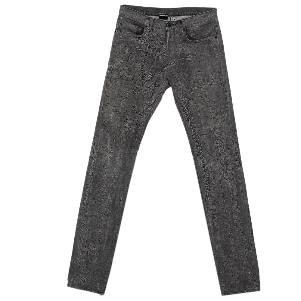 Pre-owned Dior Homme Grey Patterned Denim Tapered Leg Jeans S