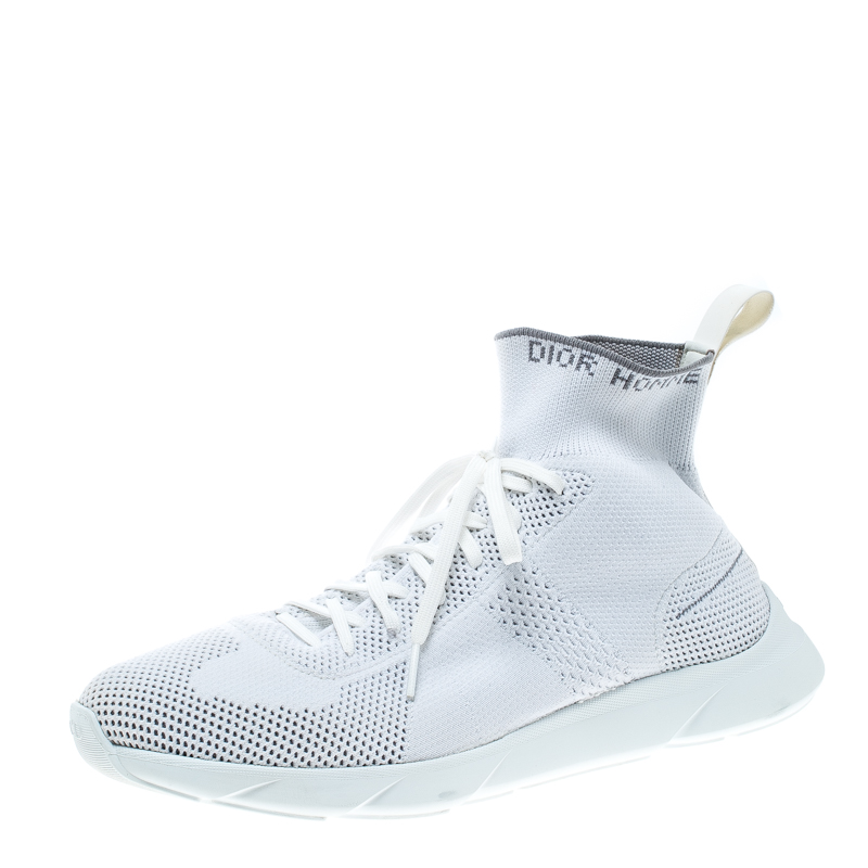 Buy Dior White Grey Knit B21 Socks High Top Sneakers Size