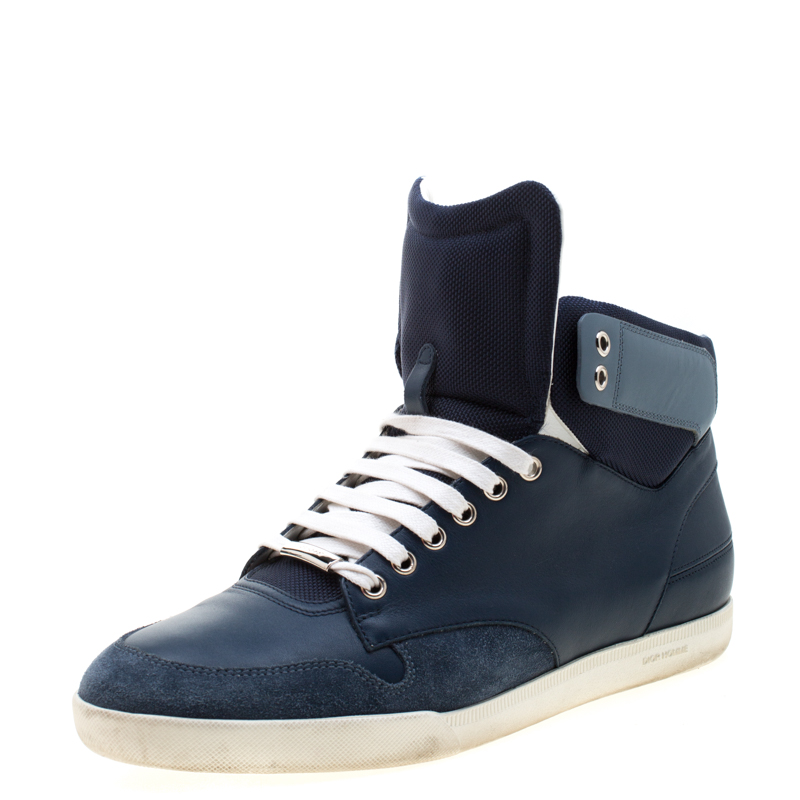 Dior Blue/White Leather High Top Sneaker Size 41