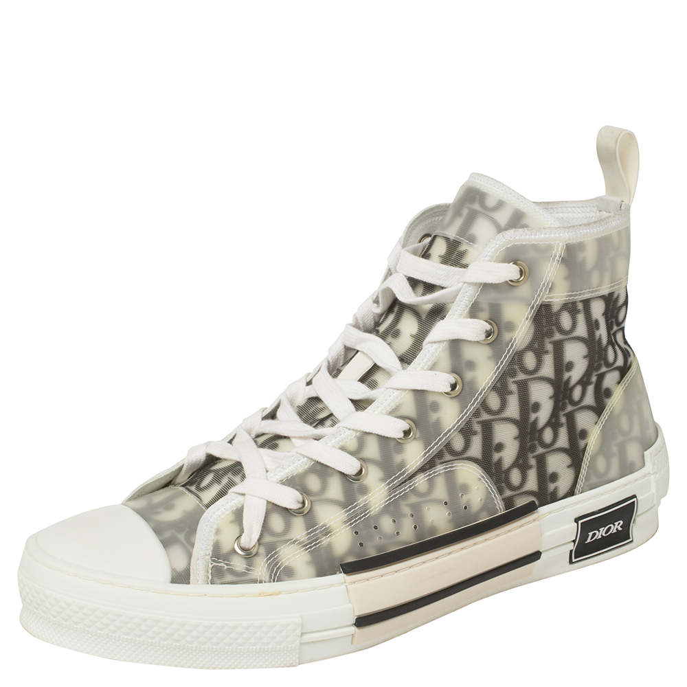 Pre-owned Dior White/grey Oblique Mesh B23 High Top Sneakers Size 43
