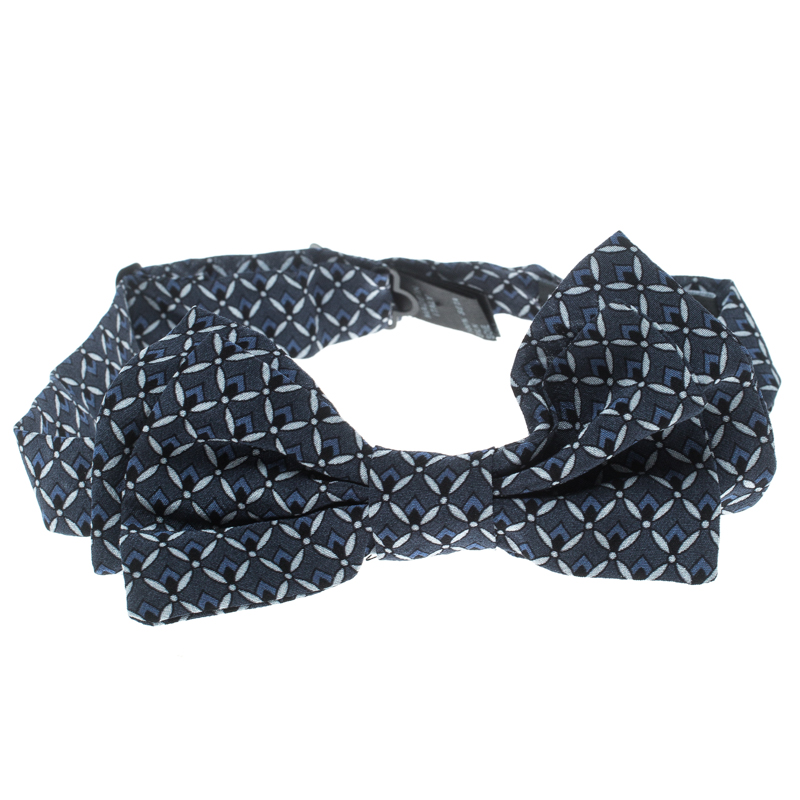 Купить со скидкой Dolce and Gabbana Navy Blue Printed Silk Double Layer Bow Tie