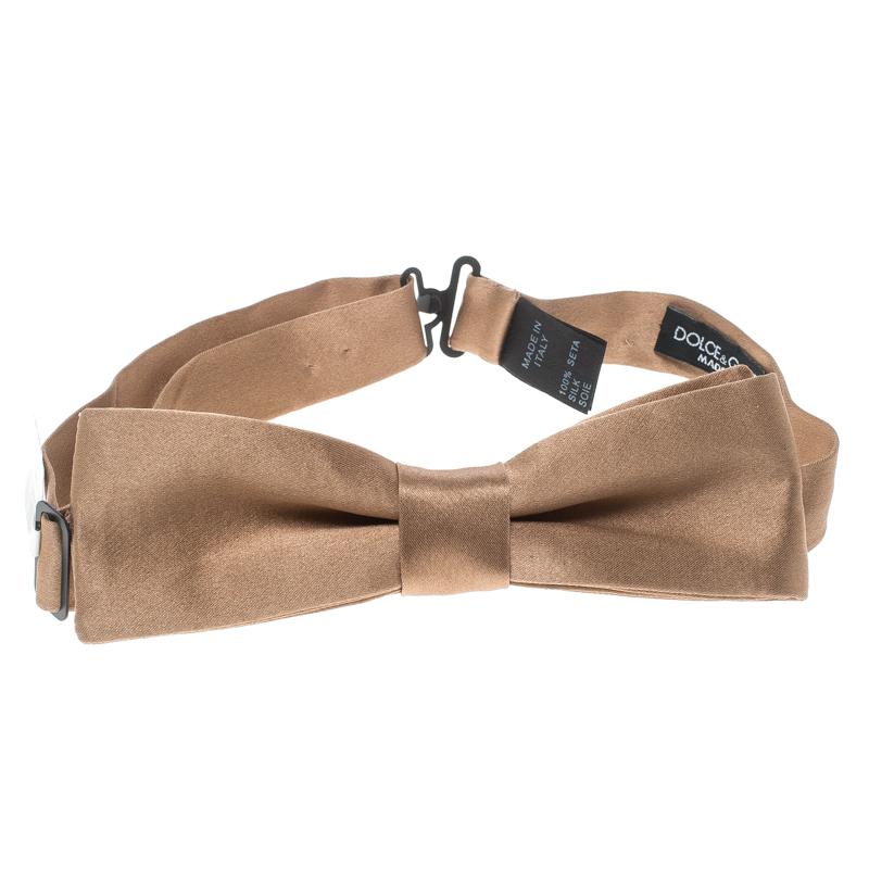 Купить со скидкой Dolce and Gabbana Brown Silk Satin Narrow Bow Tie