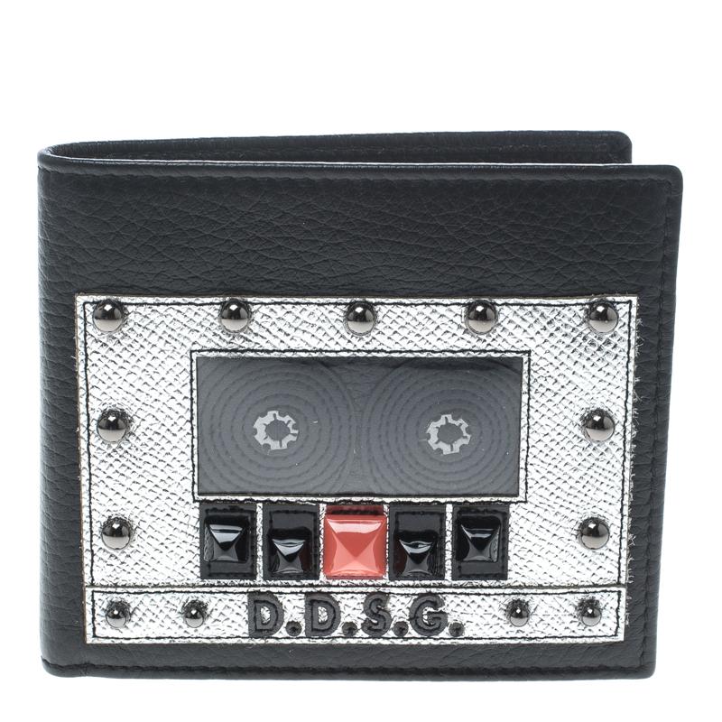 Купить со скидкой Dolce and Gabbana Black Leather Bottalato Radio 6 CC Bifold Wallet