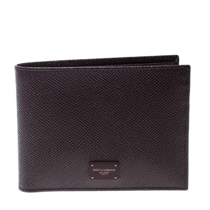 Dolce & Gabbana Burgundy Leather Bifold Wallet