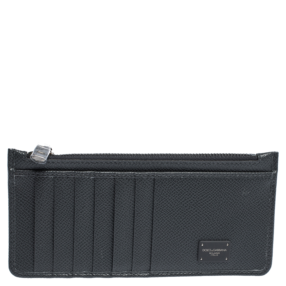 Dolce & Gabbana Gray Leather Logo Plaque Zip Card Holder