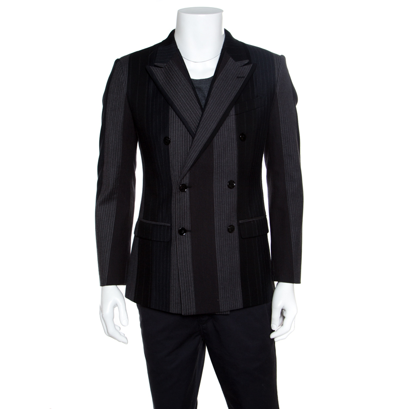 Купить со скидкой Dolce and Gabbana Colorblock Striped Wool Double Breasted Blazer S