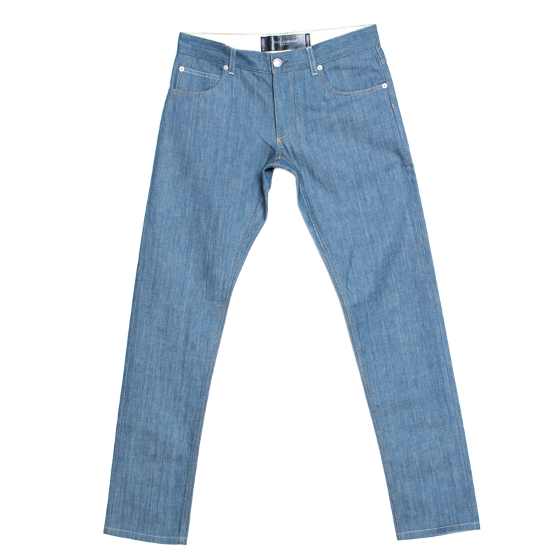 Dolce & Gabbana Gold Blue Denim Straight Fit Jeans S