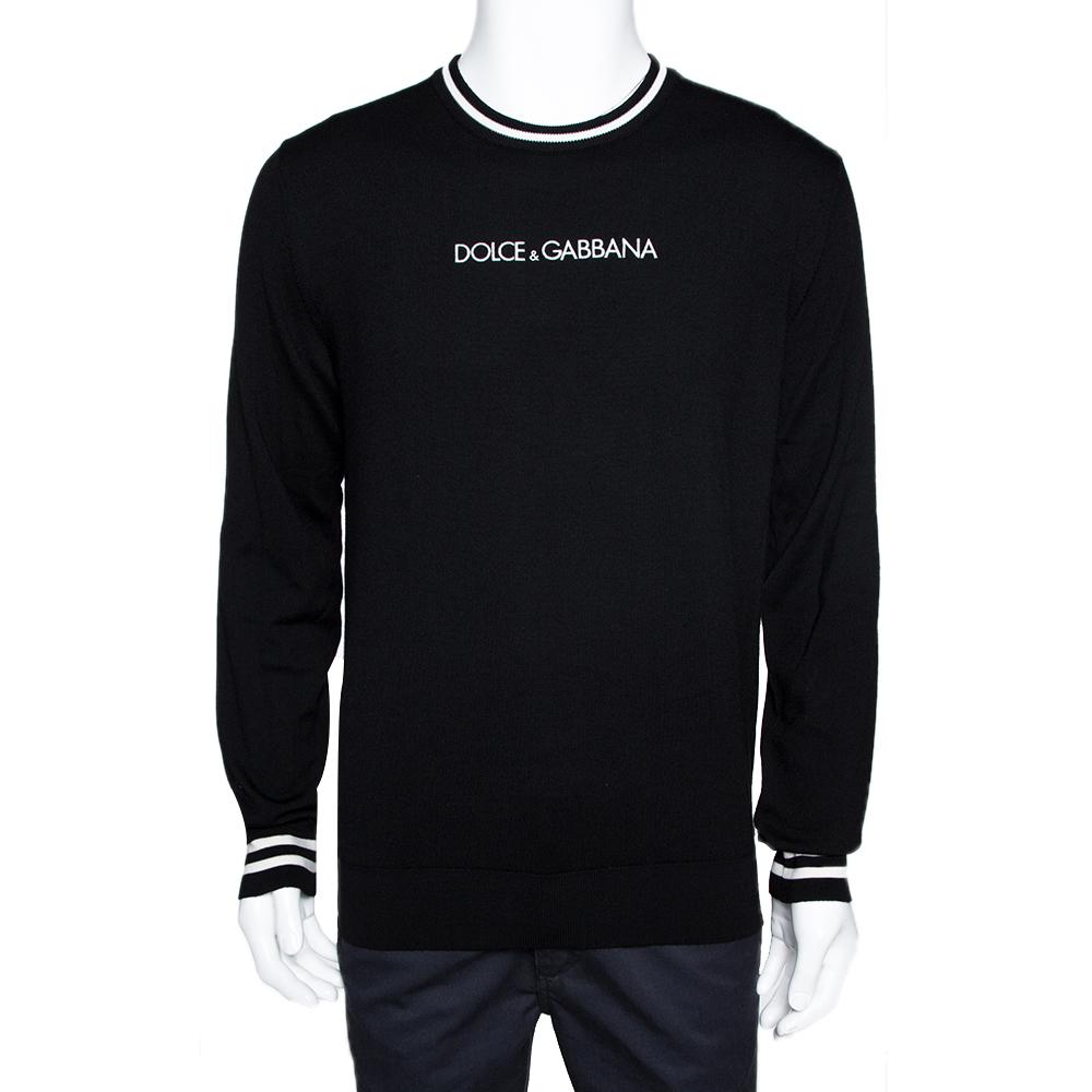 Dolce & Gabbana Black Wool Contrasting Trim Crew Neck Sweater IT 50
