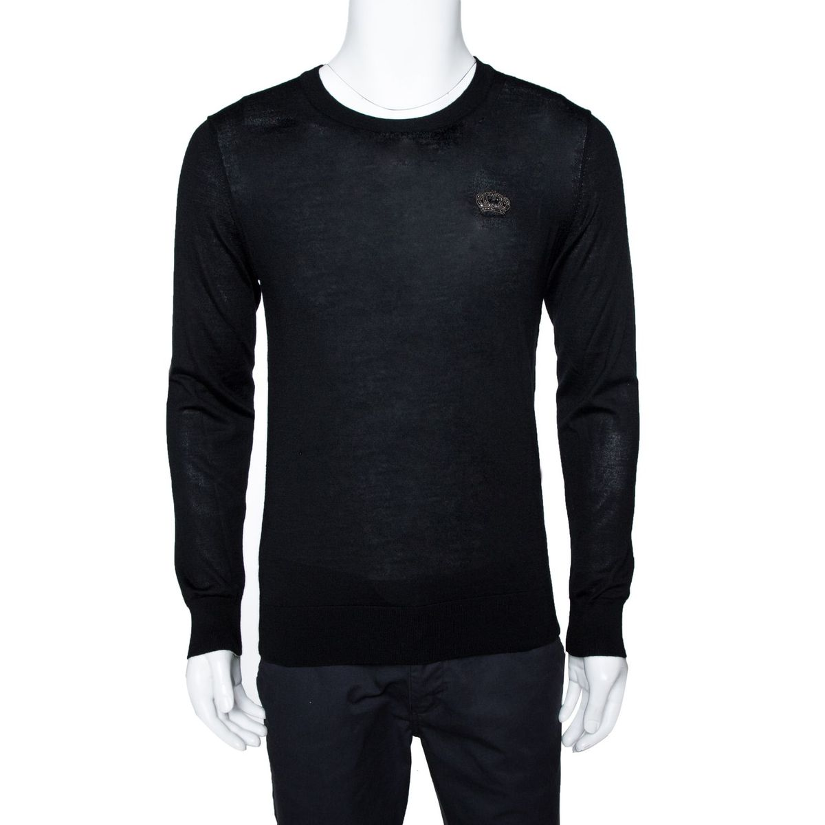 Dolce & Gabbana Black Cashmere Embellished Crown Patch Ribbed Crew Neck Jumper IT 46