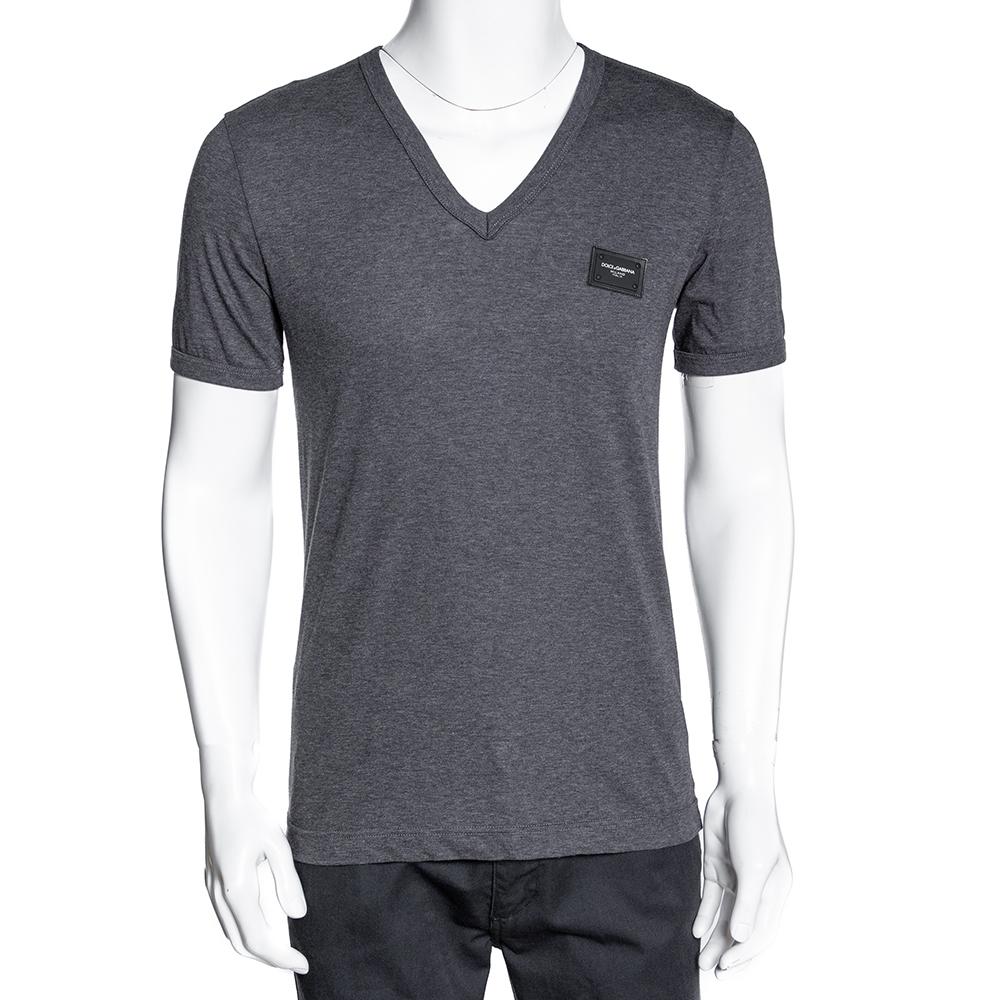 Dolce & Gabbana Grey Cotton Logo Plaque V Neck T Shirt IT 48