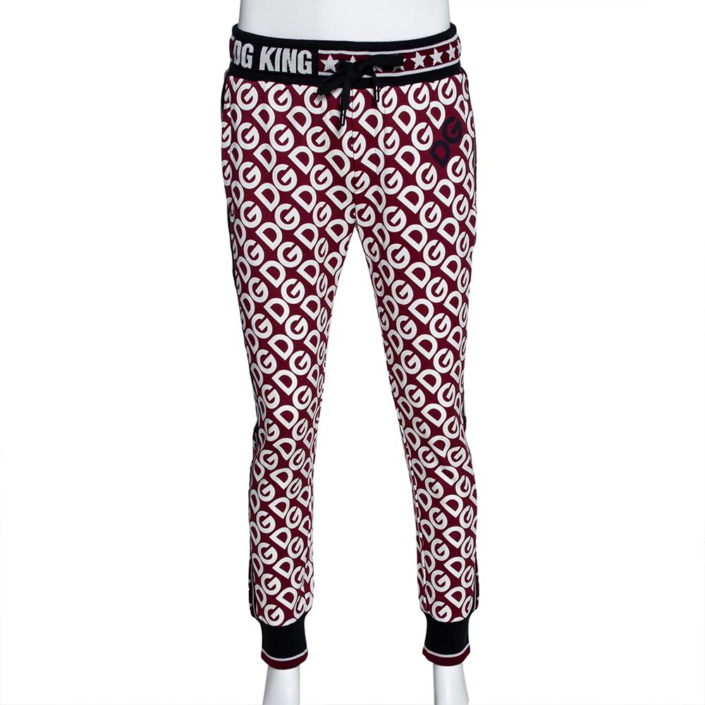 Dolce & Gabbana Multicolor DG Mania Print Cotton Sweatpants IT 56