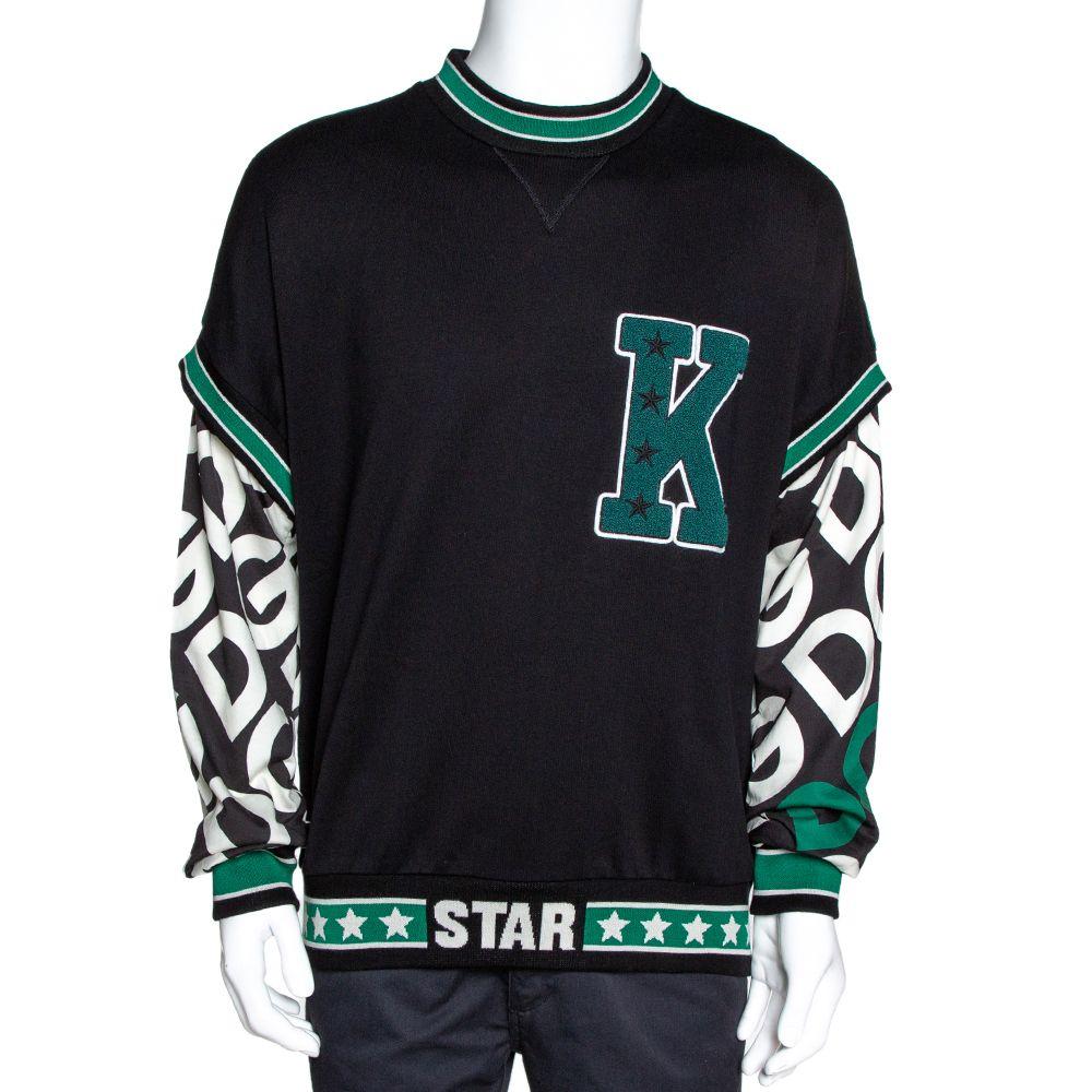 Dolce & Gabbana Black DG Mania Print Cotton Jersey Patch Crew Neck Sweatshirt M