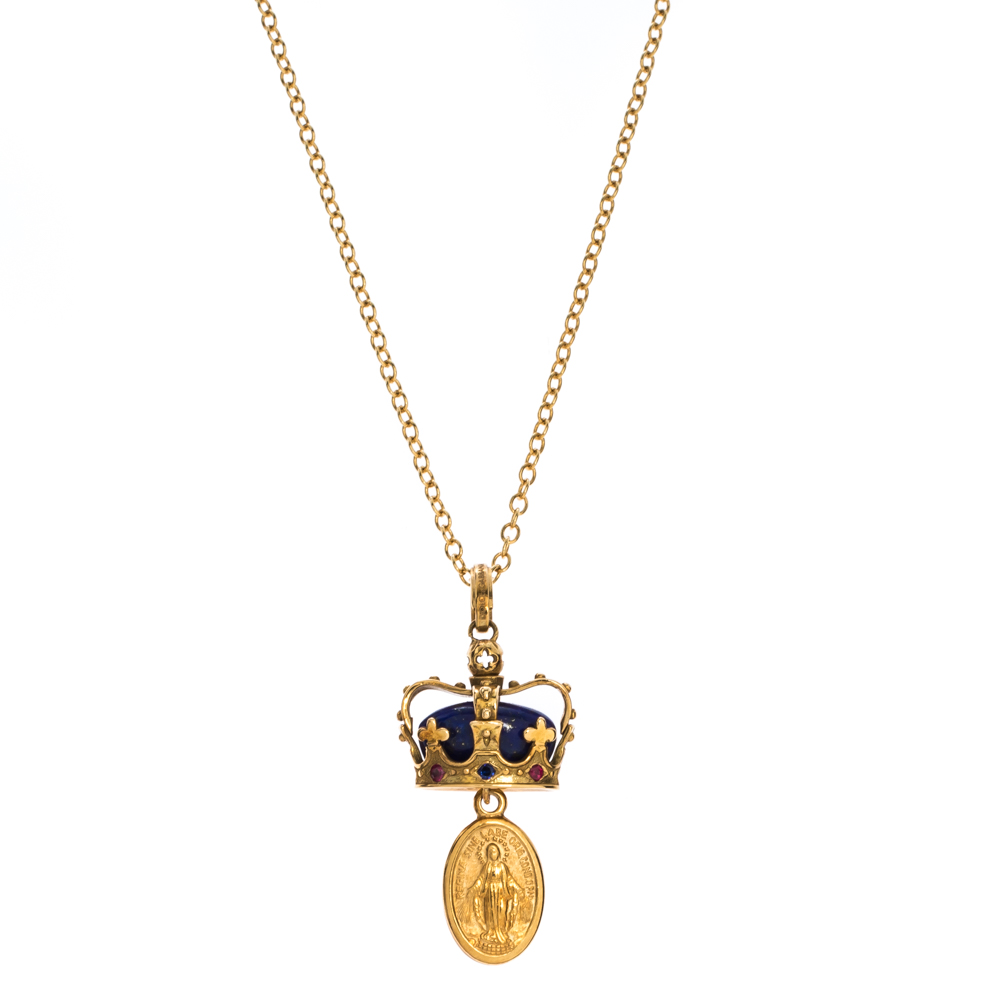Dolce & Gabbana King Multi Gemstones 18k Yellow Gold Pendant Necklace