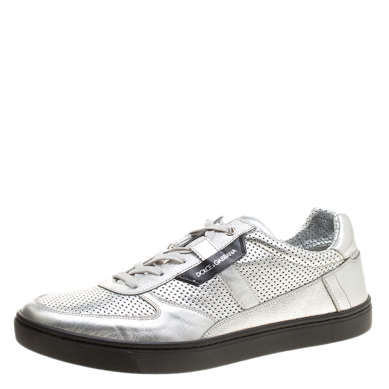 fc0e74d70834 ... Dolce and Gabbana Metallic Silver Perforated Leather Sneakers Size 45.  nextprev. prevnext