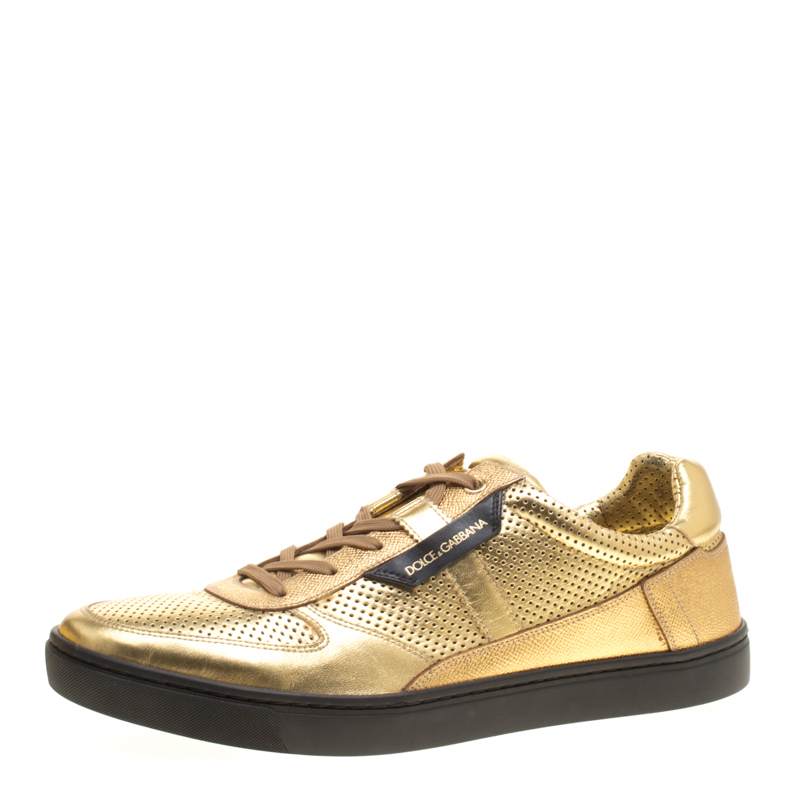 Dolce and Gabbana Metallic Gold Perforated Leather Sneakers Size 45