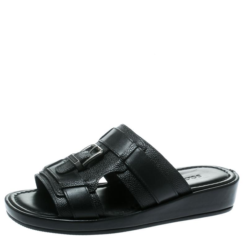 Dolce and Gabbana Black Leather Buckle Platform Slide Sandals Size 40.5