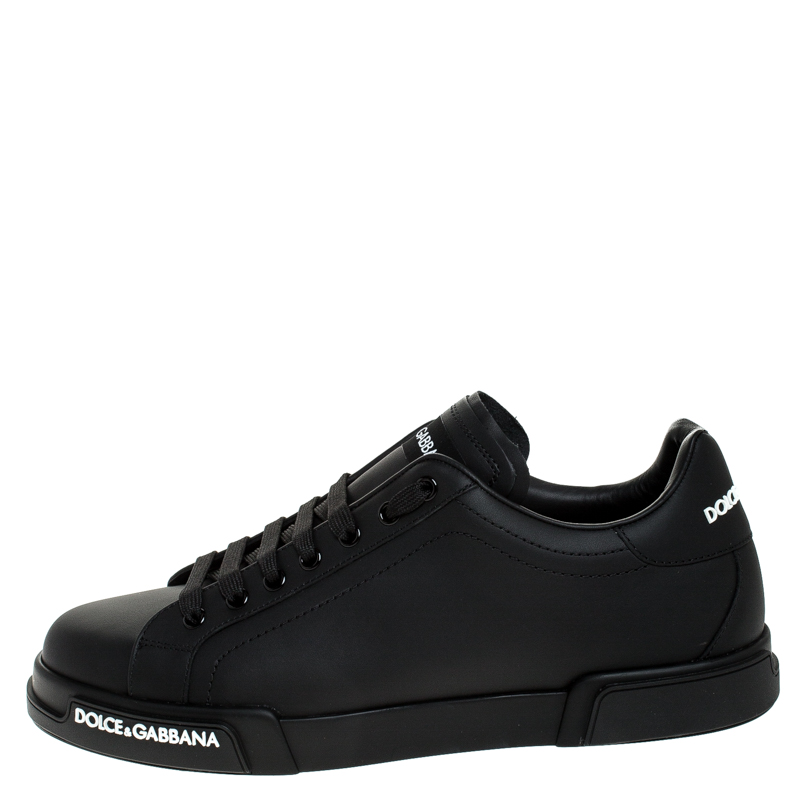 Dolce and Gabbana Black Leather Low Top