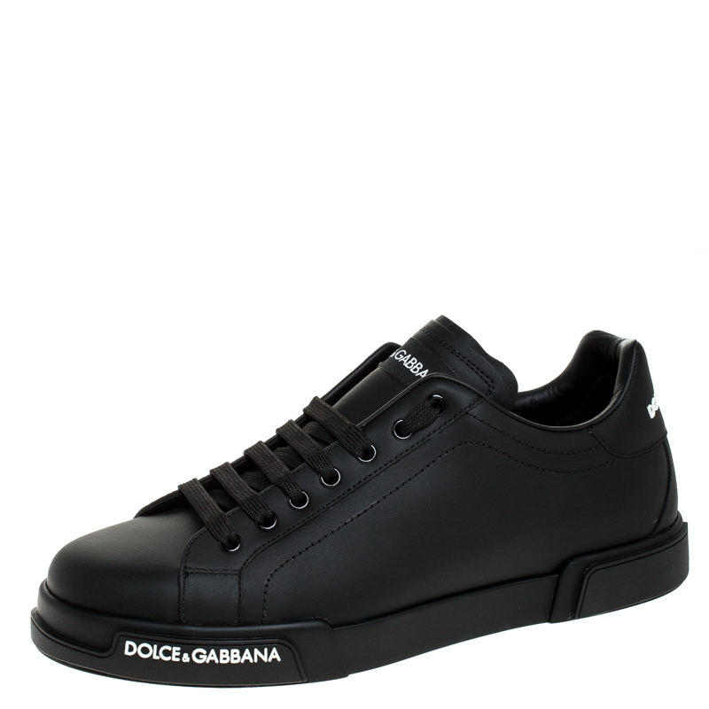 Dolce and Gabbana Black Leather Low Top Sneakers Size 40