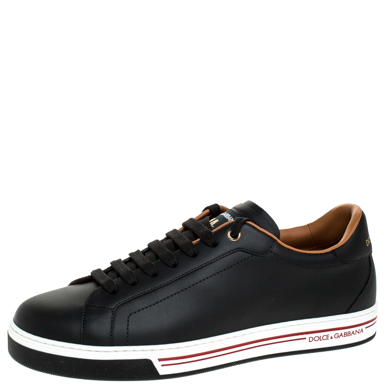 Dolce and Gabbana Black Leather Low Top Sneakers Size 42.5