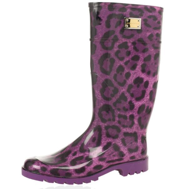 Dolce and Gabbana Purple Leopard Print Wellington Rubber Boots Size 41