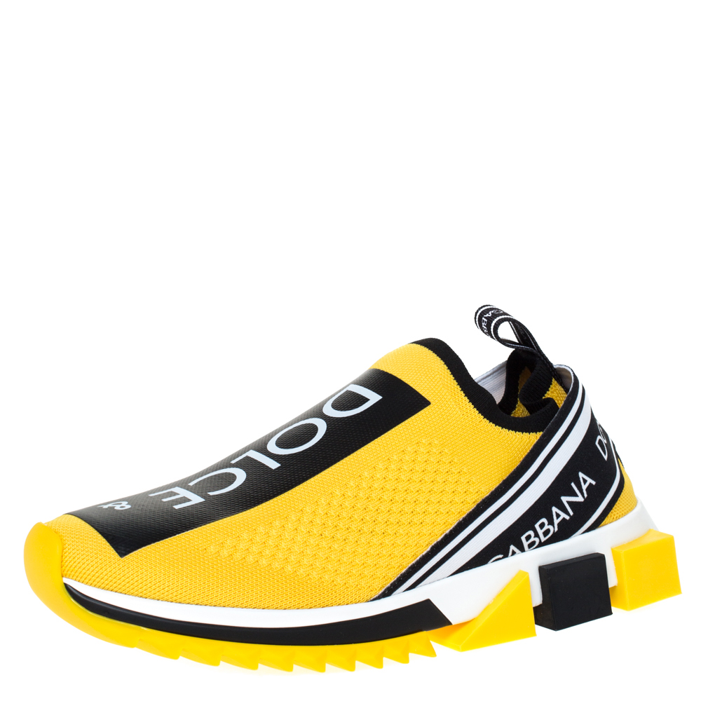 Dolce & Gabbana Yellow Stretch Jersey Logo Print Slip On Sneakers Size 43.5