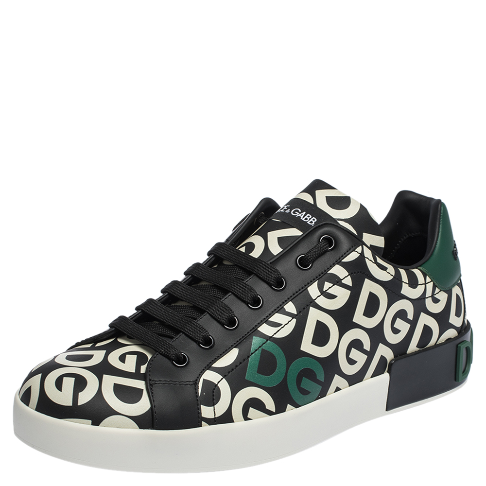 Pre-owned Dolce & Gabbana Multicolor Dg Mania Print Leather Low-top Sneakers Size 44
