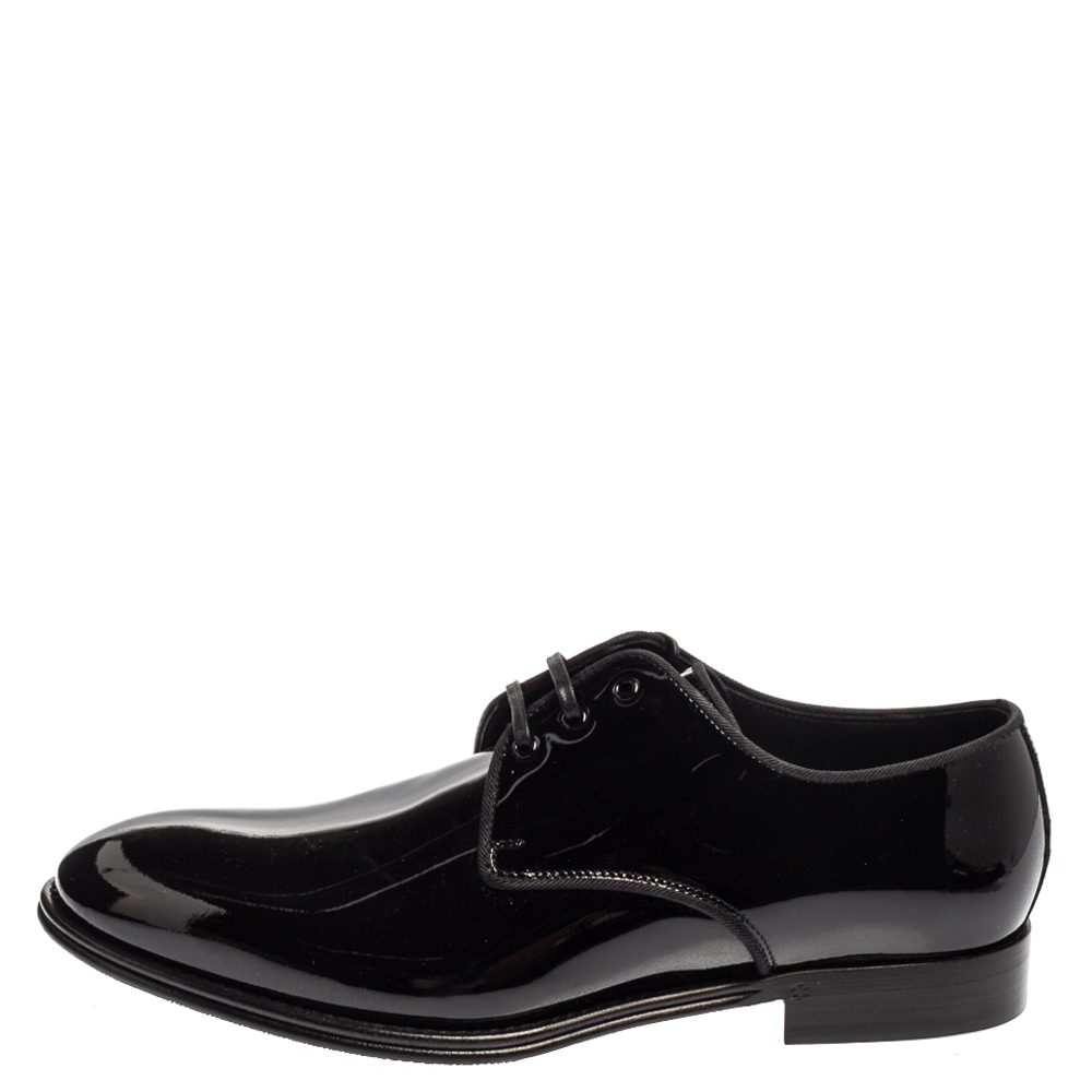 Dolce and Gabbana Black Patent Leather Lace Up Oxfords Size 41.5, Dolce & Gabbana  - buy with discount