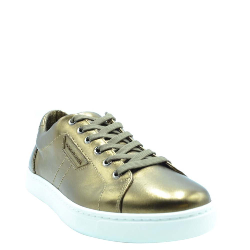 Dolce and Gabbana Gold Leather Sneakers Size EU 40.5, Dolce & Gabbana  - buy with discount