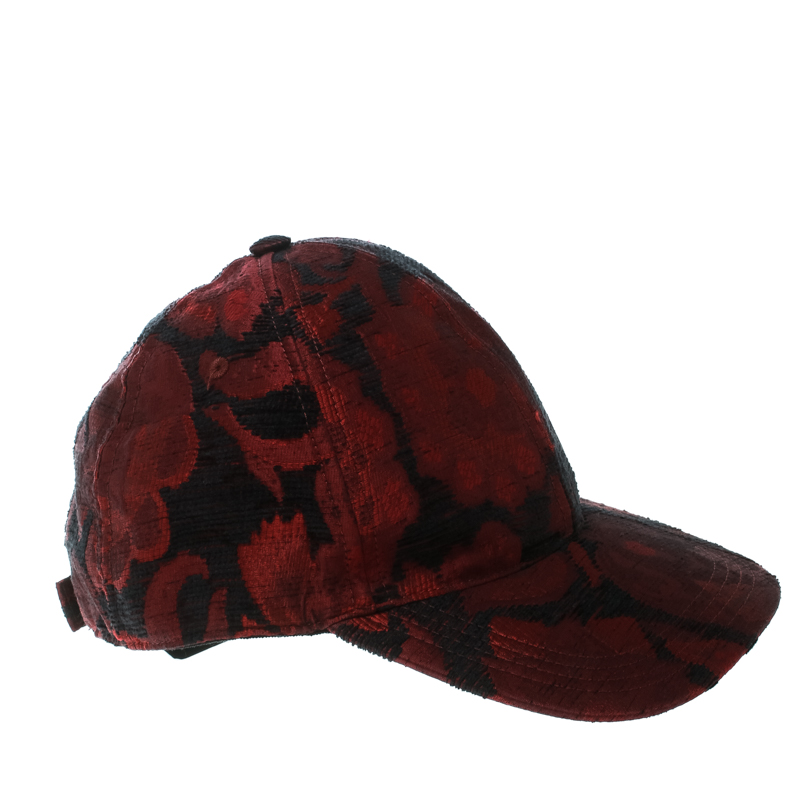 Dolce and Gabbana  Burgundy and Black Rose Jacquard Cap Size 58