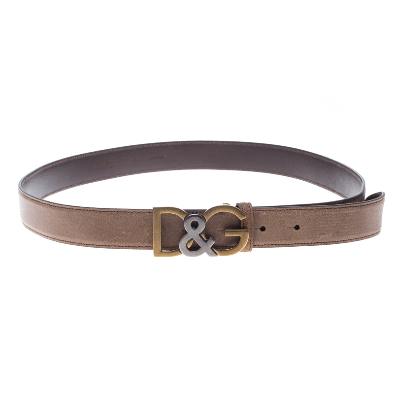 95cm 3 DOLCE /& GABBANA Belt Brown Leather Gold Buckle Wide s