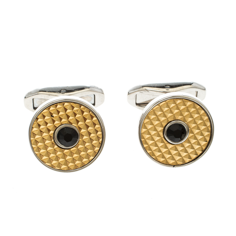 Купить со скидкой Dolce and Gabbana Crystal Textured Two Tone Metal Round Cufflinks