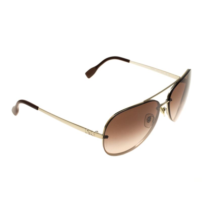 Dolce Gabbana Gold Brown Gradient Dg6086 Aviator Sunglasses