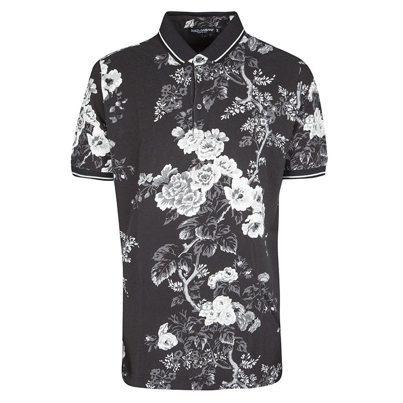 f6eafae709 Dolce and Gabbana Black Floral Print Cotton Pique Polo T-Shirt XXL