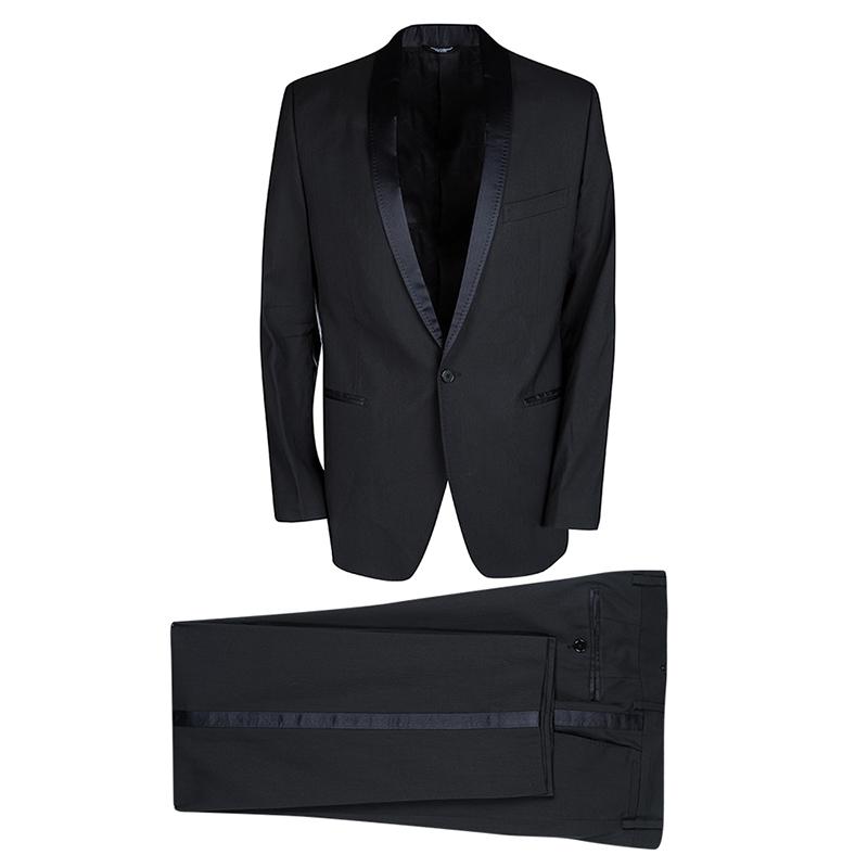 Купить со скидкой Dolce and Gabbana Black Wool Blend Satin Trim Tuxedo Suit M