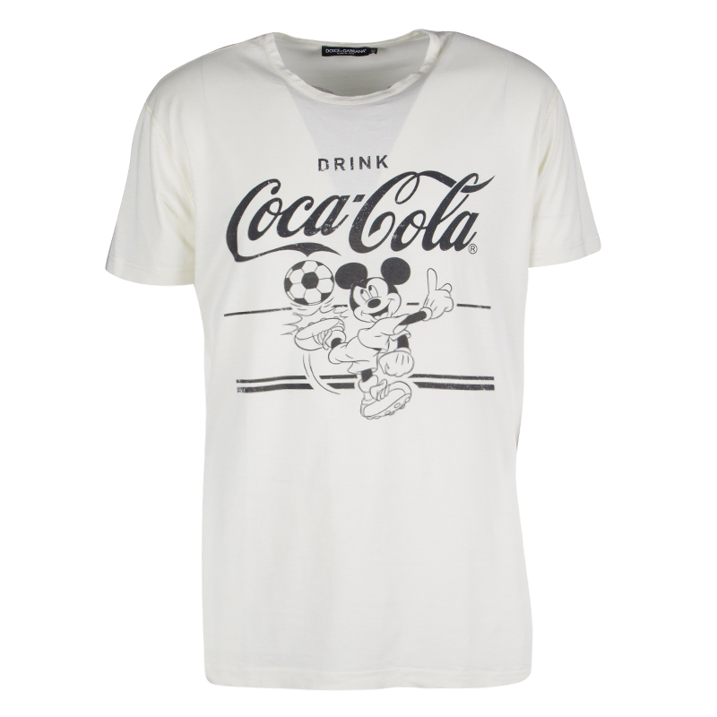 fdfa7c85d34d3a Buy Dolce and Gabbana Cream Coca Cola and Mickey Mouse Print T-Shirt ...