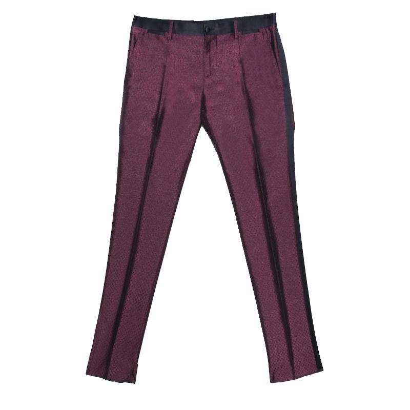 Купить со скидкой Dolce and Gabbana Burgundy Metallic Jacquard Satin Trim Tuxedo Trousers S