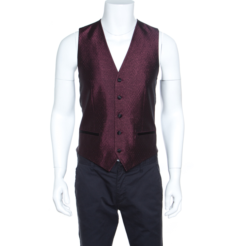 Купить со скидкой Dolce and Gabbana Burgundy Metallic Jacquard Satin Trim Waistcoat S