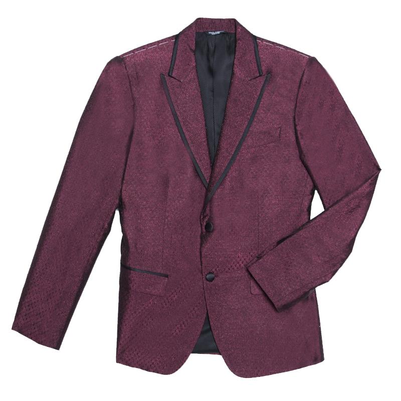 Купить со скидкой Dolce and Gabbana Burgundy Metallic Jacquard Satin Trim Blazer S