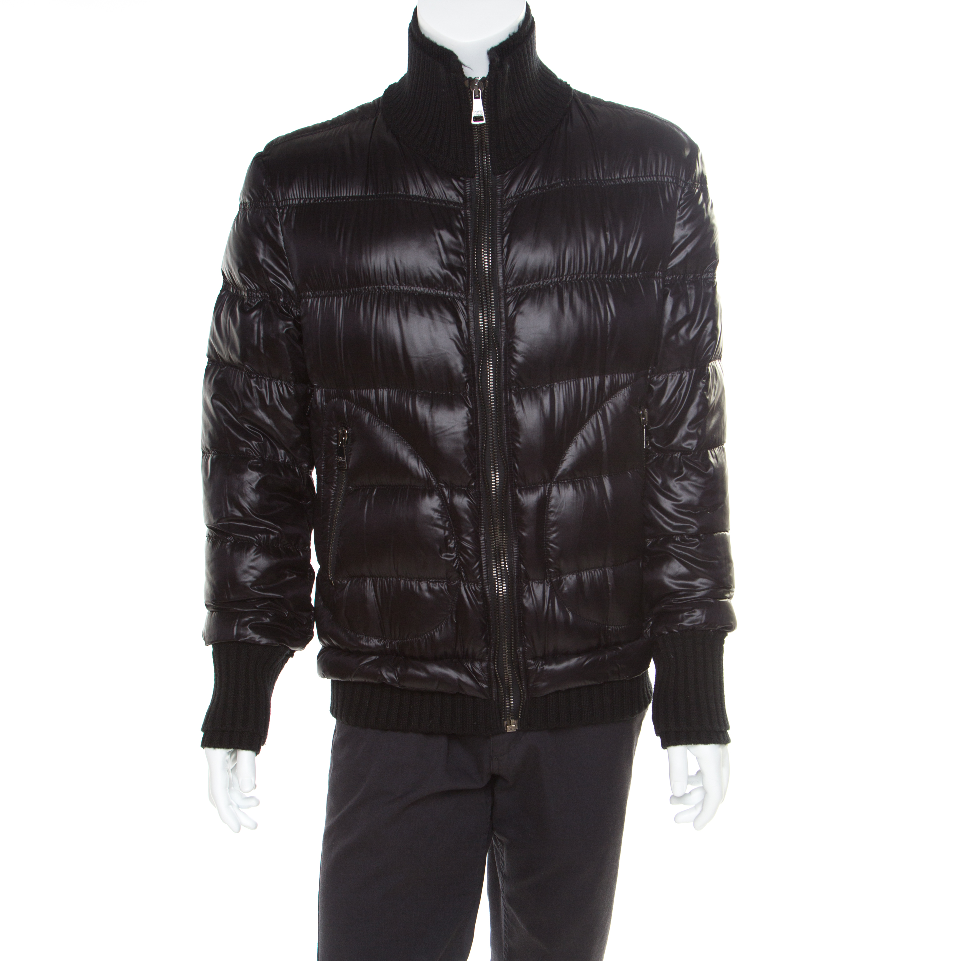 Dolce and Gabbana Black Quilted Bomber Jacket M